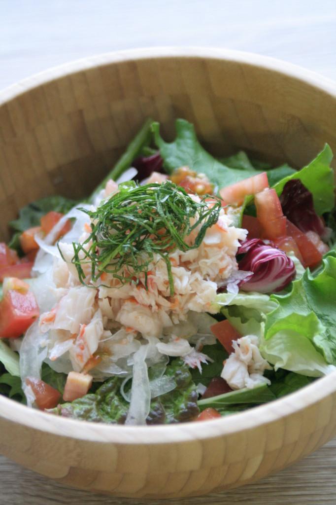 蟹サラダ木製縦